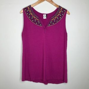 Anthro Akemi + Kin Vizela Embroidered Top Tank